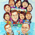 Caricature of company staff going for scuba diving. The boat has a company logo. A Singapore Pte Ltd