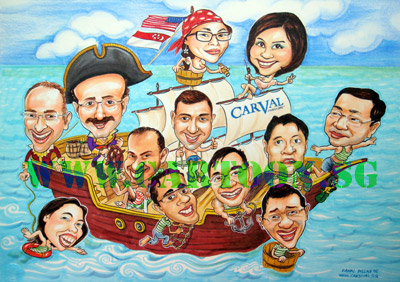 Corporate sailing caricature drawing for Singapore based American investment company