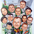 Gift for boss of AXA-Equity Singapore who is retiring. Funny Cartoon drawing