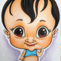 Cute drawing of baby caricatured with big eyes
