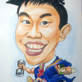 Caricature of graduate in mortar board hat and academic robe of NUS Engineering