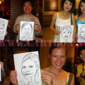 Live caricature drawing on the speed for entertainment at pre dinner coctail