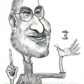 Caricature drawing of Steve Jobs in black and white watercolour effect.