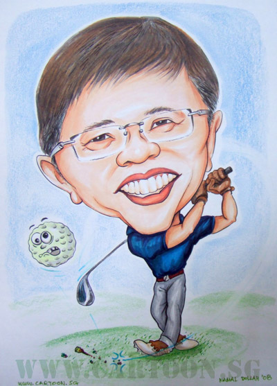 The goofy ball humour for gift caricature of golfer.