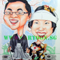 The caricature was used as a welcome board during the wedding dinner reception.