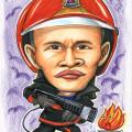 SCDF fireman fighting fire