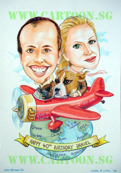 Couple caricature on an aeroplane