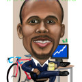 Digitally painted caricature for use as online avatar. Equity trader and university graduate who loves cycling.