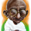 Nonviolence is an option we often forget. In this troubled time, I recall Mahatma Gandhi and decided to do a caricature of him.