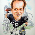 The staff of this big Oakland Raiders fan decided on a caricature of him as a quarterback. Its a parting gift with a distinctive Singapore landmark, the Merlion as a reminder of the lion city.