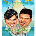 wedding-sailing-boat-invitation card caricatures