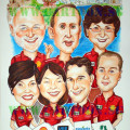 This A2 size caricature is for a farewell gift to a key staff of Huntsman Singapore. It has logos of the account he is managing and landmark of places he operates.