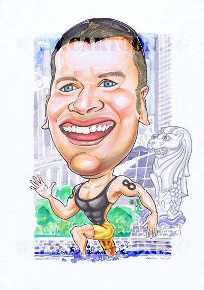 Caricature-Triathlon-Merlion-Singapore