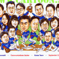 Seventeen faces in this corporate caricature for Microsoft's Korean counterparts. They wanted a baseball theme so we drew them in Korean national team jerseys. The boss is the pitcher while the second man is the striker.