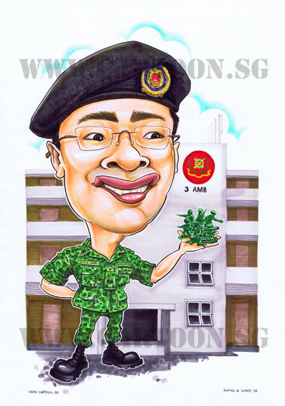 Army-Officer-Combat-Soldier-Armor-Armour-Camouflage-Singapore-Caricature-Gift