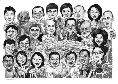Another farewell gift from Huntsman. We don't do black and white order unless its for more than 6 person in a group. The people at this multi national company seems to appreciate caricature very well.