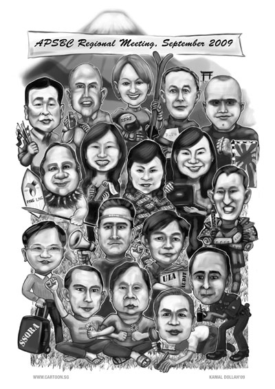 Seventeen person drawn in digital black and white. It will be printed and given to each of them.