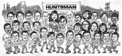 Thirty four person in this big group caricature as a farewell gift for Huntsman Plant Manager who likes to sing Karaoke.