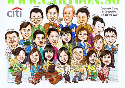 "This corporate caricature of 20 person is for their Christmas greeting card. The theme was inspired by a recent block buster TV series ""Little Nyonya"" about the 'Peranakans' or otherwise known as Straits Chinese"