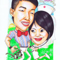 Wedding-Gift-Caricature-Doctor-Nurse-Bow