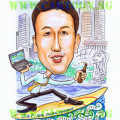 Cartoon Caricatures in Singapore by Singaporean Artist of Merlion and Executive on a Surfboard with beer.