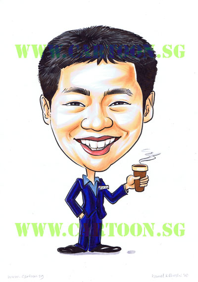 Librarian-Caricature-Singapore-Coffee-Drinker