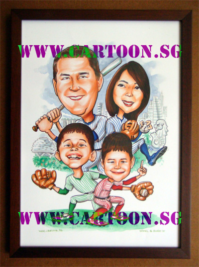 baseball-bat-caricature-singapore-family
