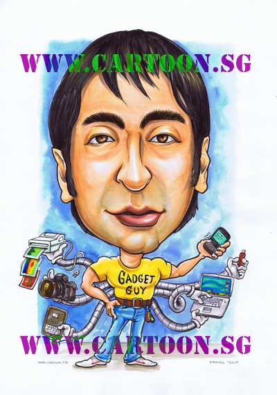caricature-singapore-gadget-guy-gift