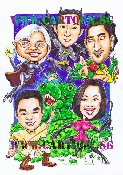 superhero-caricature-singapore-batman-robin-storm-xmen-starwars-jedi