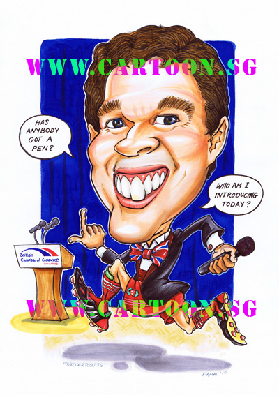 caricature emcee british chamber commerce soccer boots stage suit