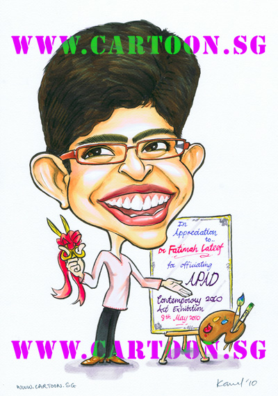 dr-fatimah-lateef-minister-parliament-caricature-gift-apad-exhibition.jpg