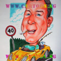 40th birthday gift caricature husband yellow car porsche fishing rod