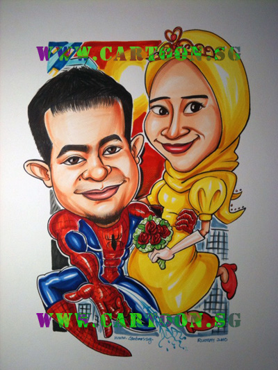 spiderman-wedding-roses-super-hero-caricature-cartoon.sg-singapore