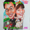 wedding couple caricature motorbike