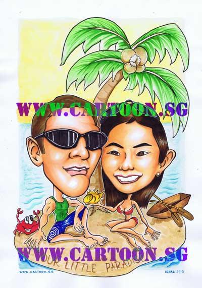 couple-gift-caricature-paradise-island