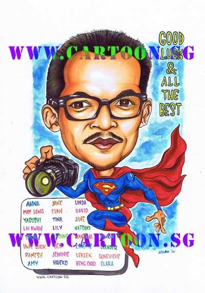 Farewell-Gift-Caricature-Superman-Photographer