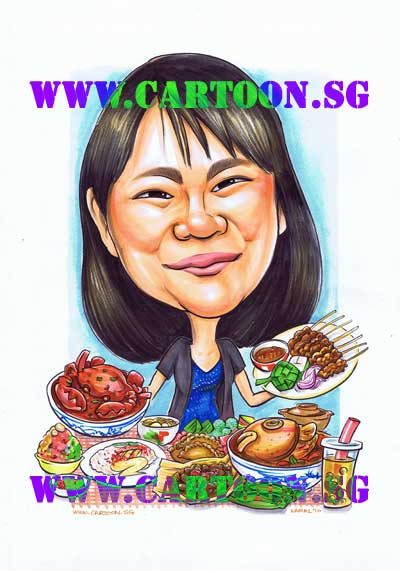 gift-caricature-traditional-food-lover