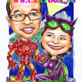 Ironman-marries-catwoman-caricature