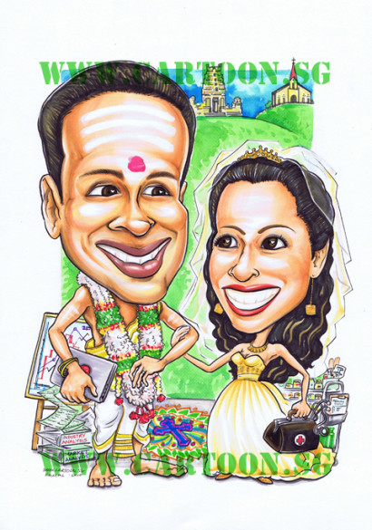 Wedding Gift Caricature for Mix Wedding of a Catholic and A Hindu