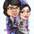 Cartoon caricature artists in Singapore for wedding invitation cards and live drawing entertainment at ballroom dinner functions
