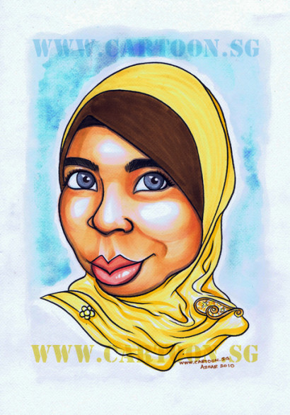 Gift Caricature of a Muslim Lady wearing a scarf