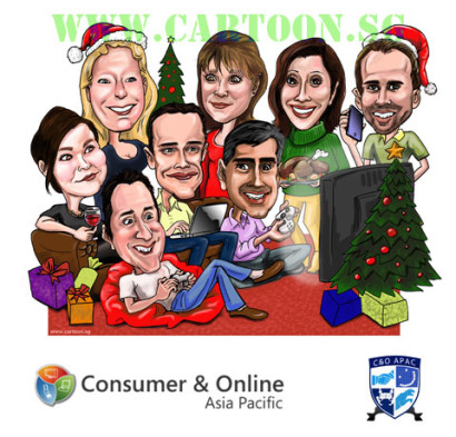 2010-12-16-Christmas card corporate caricature of Microsoft staff