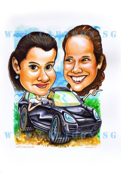Caricature of two ladies driving a Porsche Cayenne