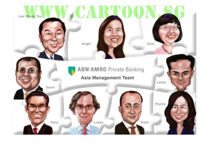 Singapore caricature artists draw digital caricature of bank executives from around the world