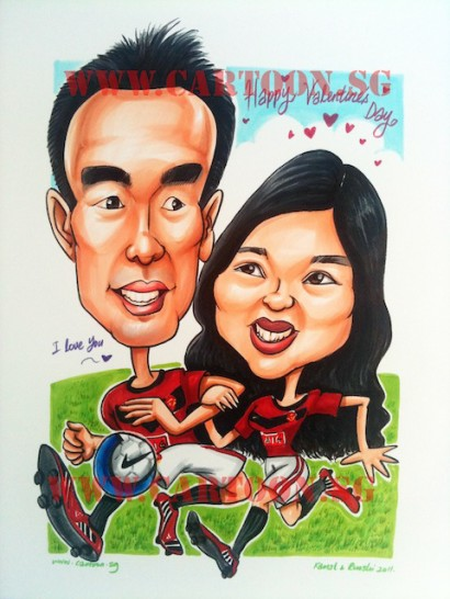 Caricature of Singaporean couple in Manchester United Jersey