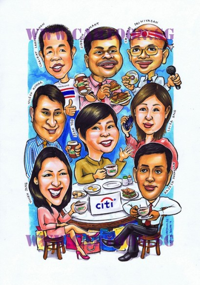 Caricature of Citibank Group at Killeney Coffee