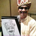 Women showing off caricature of herself by cartoon.sg