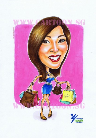 Lady with shopping bags smiling caricature