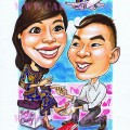 Proposing happily to a SIA air stewardess caricature