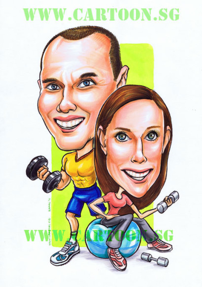 Fitness_Couple_Gym_Gift_Sporty-Caricature